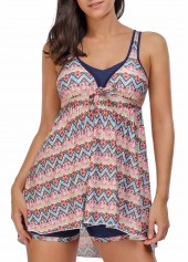 Asymmetric Hem Open Back Printed Swimdress and Shorts