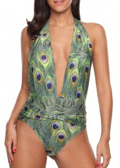 Padded Printed Halter Neck One Piece Swimwear