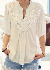 White Half Sleeve Lace Patchwork Blouse