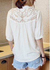 wholesale White Half Sleeve Lace Patchwork Blouse
