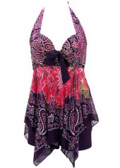 Printed Asymmetric Hem Halter Neck Swimdress and Shorts