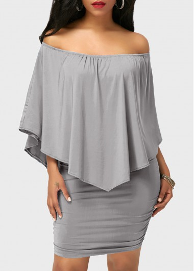 Off the Shoulder Ruffle Overlay Grey Dress