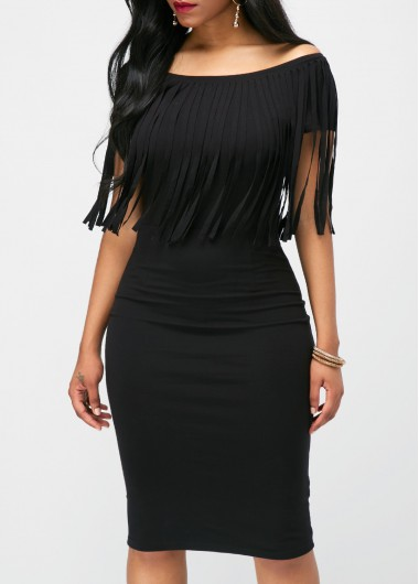Black Tassel Embellished Boat Neck Dress
