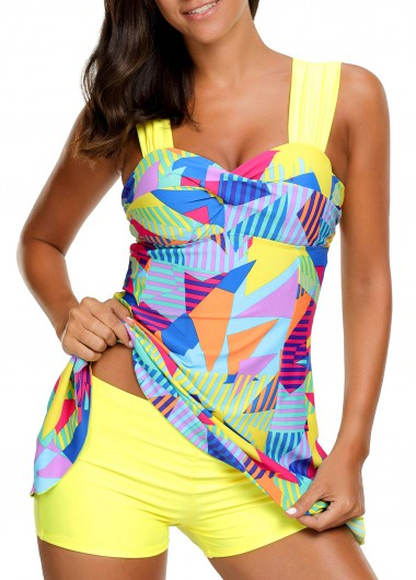 High Waist Printed Padded Patchwork Swimdress and Shorts
