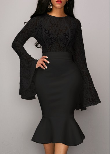 Lace Panel Long Sleeve Top and Black Skirt