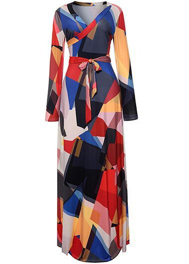 V Neck Long Sleeve Belted Maxi Dress