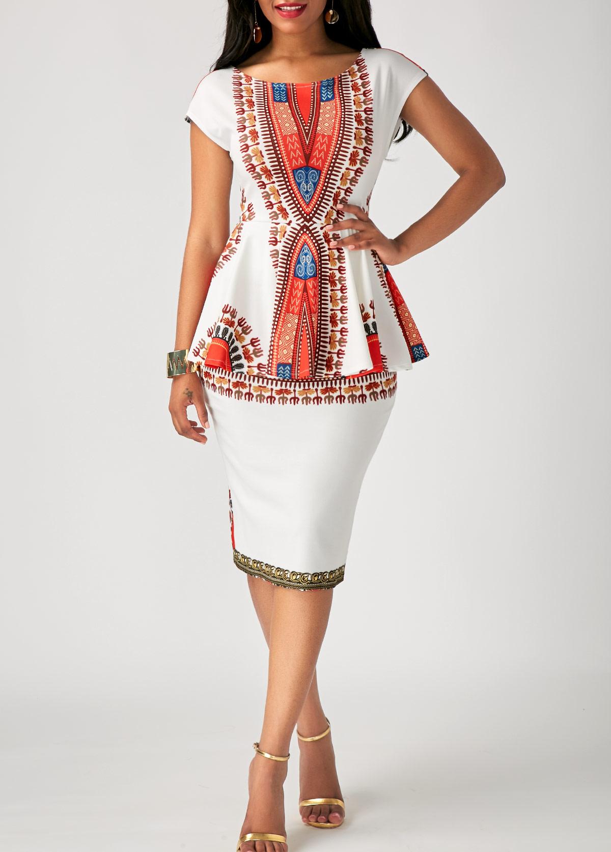 Printed White Peplum Waist Sheath Dress