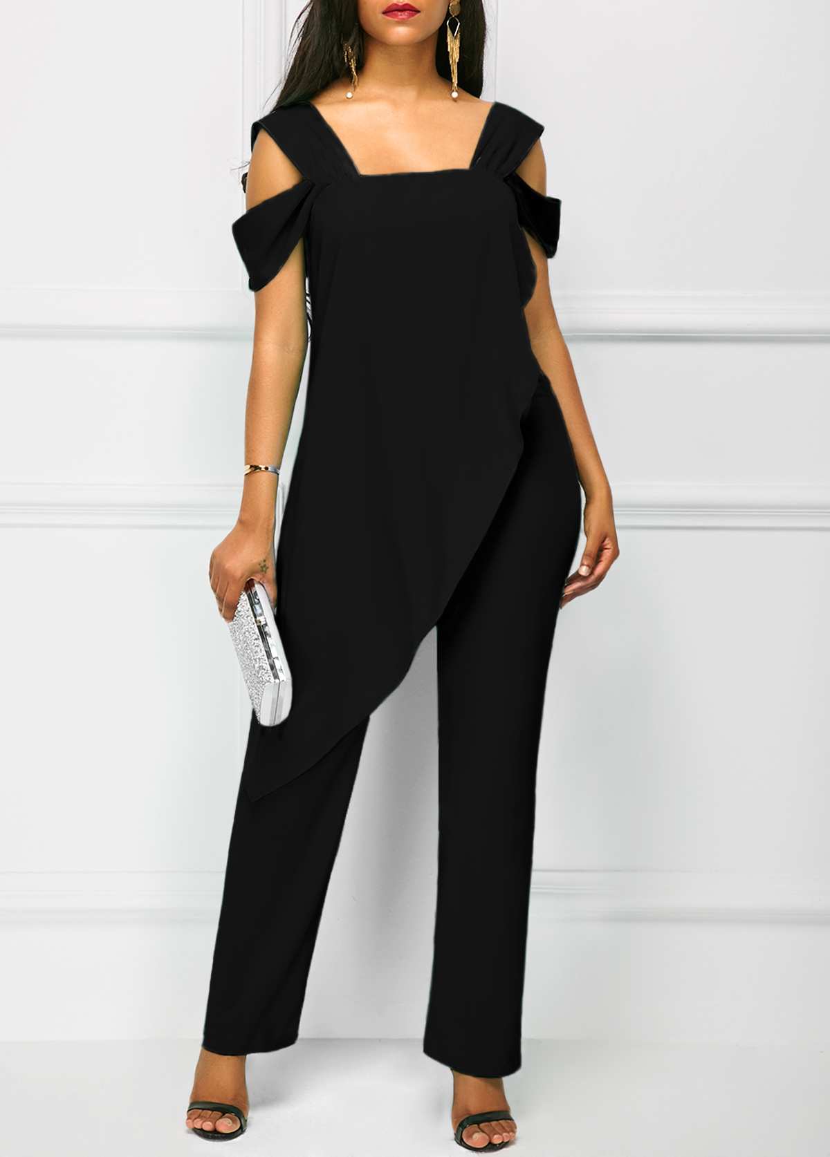 new items top-rated real most popular Wide Strap Black Open Back Overlay Jumpsuit