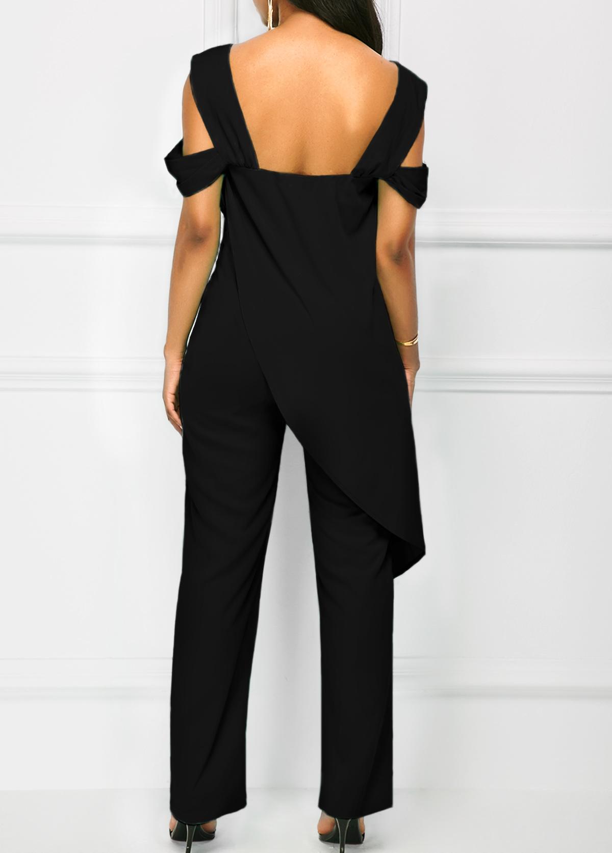 Wide Strap Black Open Back Overlay Jumpsuit