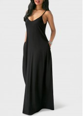 wholesale Open Back Pocket Decorated Black Maxi Dress
