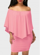 Ruffle Overlay Off the Shoulder Pink Mini Dress