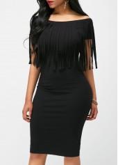 wholesale Black Tassel Embellished Boat Neck Dress
