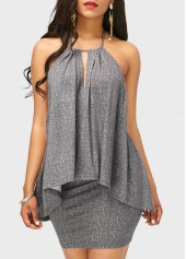 Open back Asymmetric Hem Top and Grey Skirt