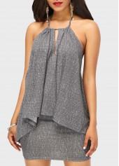 wholesale Open back Asymmetric Hem Top and Grey Skirt