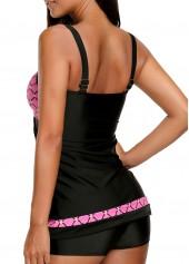 wholesale Printed Open Back Black Tankini Set