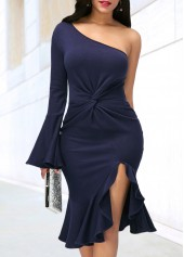 Navy Blue One Shoulder Side Slit Dress