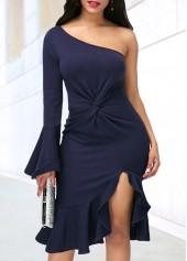wholesale Navy Blue One Shoulder Side Slit Dress