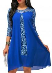 Royal Blue Asymmetric Hem Lace Patchwork Dress