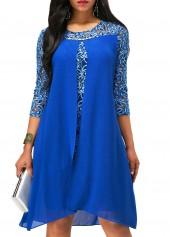 wholesale Royal Blue Asymmetric Hem Lace Patchwork Dress
