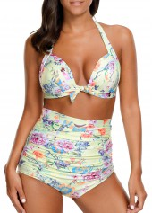 High Waist Halter Neck Printed Two Piece Swimwear