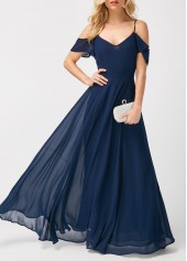 Navy Strappy Cold Shoulder High Waist Maxi Dress