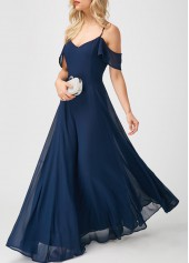 wholesale Navy Strappy Cold Shoulder High Waist Maxi Dress