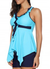 wholesale Blue Criss Cross Back Asymmetric Hem Tankini Set