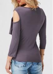 wholesale Asymmetric Hem Dark Grey Cold Shoulder T Shirt