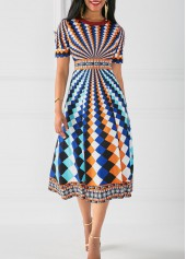 Round Neck High Waist Printed Dress