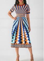 wholesale Round Neck High Waist Printed Dress