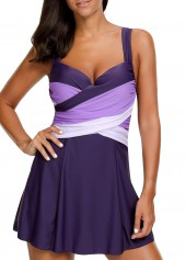 Wide Straps Tie Back Purple Swimdress