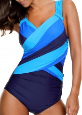 Wide Strap Patchwork One Piece Swimwear