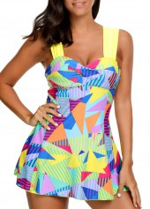 wholesale High Waist Printed Padded Patchwork Swimdress and Shorts