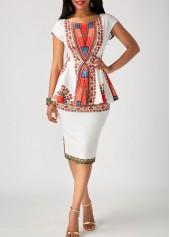 wholesale Printed White Peplum Waist Sheath Dress