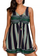V Neck Stripe Print Swimdress and Shorts