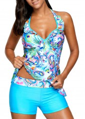 wholesale Printed Blue Open Back Padded Tankini Set