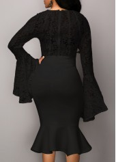 wholesale Lace Panel Long Sleeve Top and Black Skirt