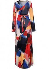 V Neck Long Sleeve Belted Maxi Dress