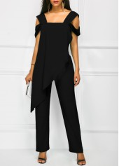 wholesale Wide Strap Black Open Back Overlay Jumpsuit