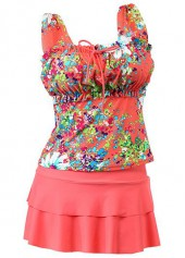 Layered Flower Print Wide Strap Tankini Set