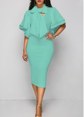 Tie Neck Layered Sleeve Sheath Dress