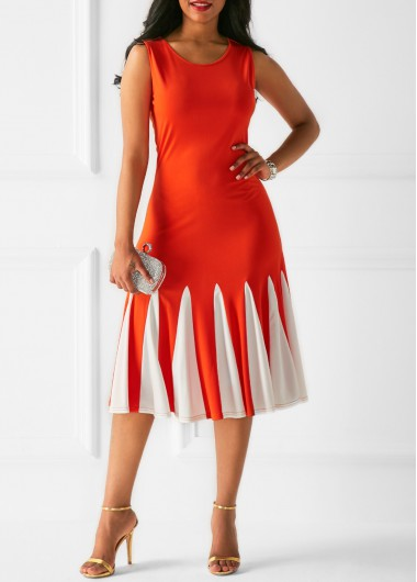 Zipper Back Printed Sleeveless Orange Dress