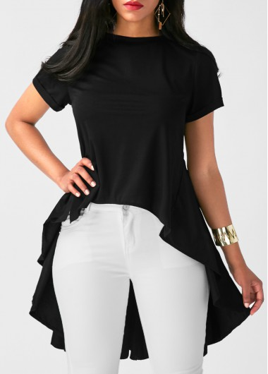 Solid Black Short Sleeve Pleated Blouse