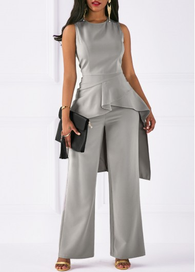 Round Neck Asymmetric Hem Top and Grey Pants