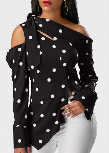 Polka Dot Print Long Sleeve Black Blouse