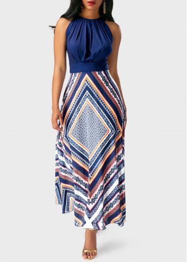 Round Neck Sleeveless Patchwork Printed Dress