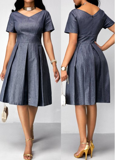 Pleated Short Sleeve Band Waist Dress