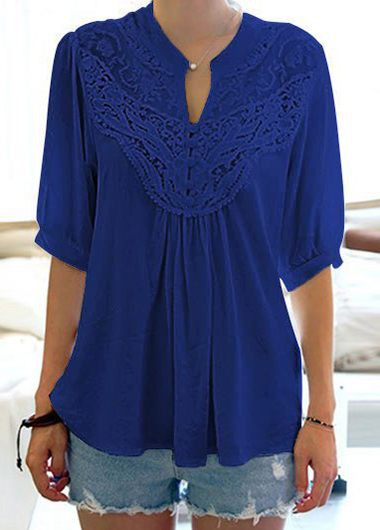 Lace Panel Navy Blue Split Neck Blouse