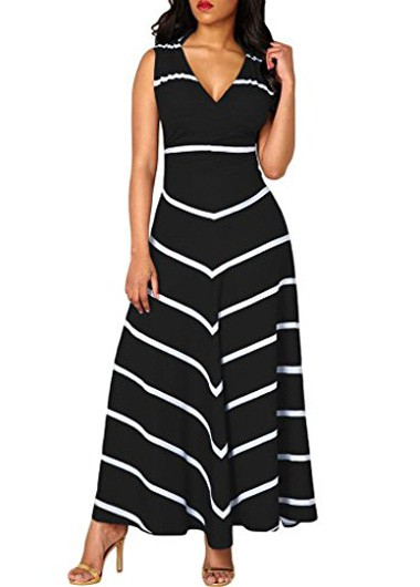 Stripe Print Cutout Back Sleeveless Black Dress