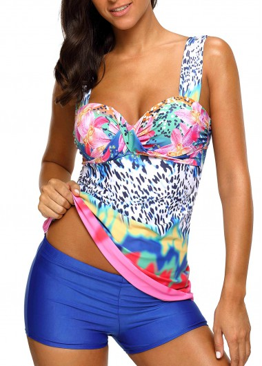 Padded Printed Wide Strap Tankini Set